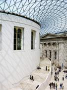 Crowds  Prints - Inside The British Museum Great Court Print by Justin Guariglia