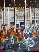 Amusements Painting Originals - Inside the Carousel House by Norma Tolliver