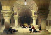 Sepulchre Posters - Inside The Church of the Holy Sepulchre in Jerusalem Poster by Munir Alawi