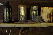 Antique Bottles Art - Inside The Old Barn by William Jones