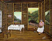 Puerto Rico Paintings - Inside Wooden Home by Gloria E Barreto-Rodriguez