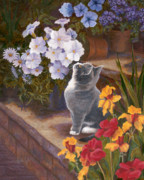 Gray Cat Paintings - Inspecting the Blooms by Evie Cook