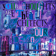 Inspirational Art Painting Originals - Inspirational Art - Your Thoughts Are the Architects of Your Destiny by Miriam  Schulman