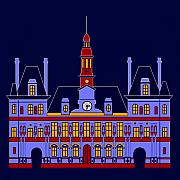 Hall Digital Art Originals - Inspired by the City Hall of Paris by Asbjorn Lonvig