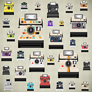 Photograph Digital Art Prints - Instant Camera Pattern Print by Setsiri Silapasuwanchai