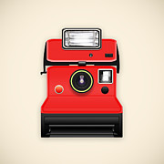 Toy Camera Posters - Instant Camera With A Blank Photo Poster by Setsiri Silapasuwanchai