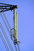 Disc Photo Prints - Insulators On An Electricity Pylon Print by Paul Rapson