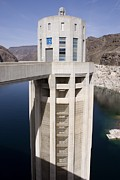 Desert Lake Posters - Intake Tower In Lake Mead At Hoover Dam Poster by Mark Williamson