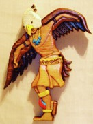 Intarsia Sculpture Framed Prints - Intarsia Eagle Dancer Framed Print by Russell Ellingsworth