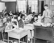 African Americans Prints - Integrated Classroom In Washington Print by Everett
