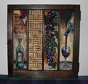 Corks Originals - Intellectual Wine Vintage Window by Cathy Weaver