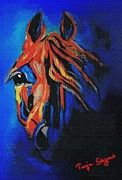 Arabian Horse Mixed Media Posters - Intense Arabia Poster by Tarja Stegars