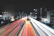 Land Vehicle Prints - Intense Car Light Trails Print by Photography by Shin.T