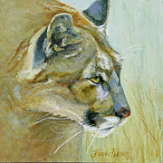 Puma Paintings - Intense Cougar by Bonnie Rinier