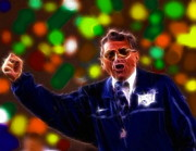 Fist Pump Drawings Posters - Intense Joe Paterno Poster by Paul Van Scott