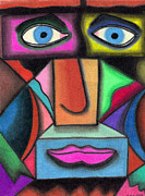 Cubist Pastels Posters - Intensity Poster by Christine Perry