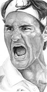 Tennis Painting Originals - Intensity Federer by Tamir Barkan