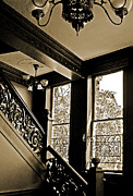 Banister Posters - Interior Elegance Lost in Time Poster by DigiArt Diaries by Vicky Browning