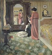 Sewing Paintings - Interior by Felix Edouard Vallotton