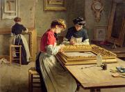 French Shops Paintings - Interior of a Frame Gilding Workshop by Louis Emile Adan