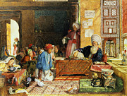 Orientalist Painting Framed Prints - Interior of a School - Cairo Framed Print by John Frederick Lewis