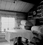 Log Cabins Art - Interior Of An Idaho Farmers Two-room by Everett