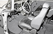 Susan Leggett Digital Art Acrylic Prints - Interior of Classic Car Acrylic Print by Susan Leggett