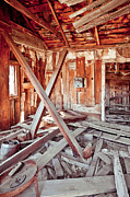 Abandoned Buildings Framed Prints - Interior of Collapsing Wooden Shack Framed Print by Eddy Joaquim