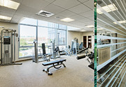 Physical Fitness Framed Prints - Interior of Fitness Center Framed Print by Andersen Ross