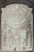 Buildings Drawings Prints - Interior of Saint Pauls Cathedral Print by John Coney