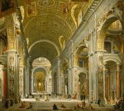 Basilica Prints - Interior of St. Peters - Rome Print by Giovanni Paolo Panini