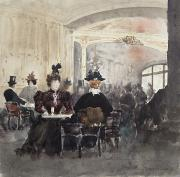 Tables Paintings - Interior of the Concert Rouge by Henri Laurent Mouren