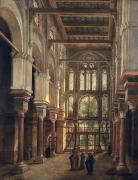 Orientalist Painting Framed Prints - Interior of the Mosque of El Mooristan in Cairo Framed Print by Adrien Dauzats