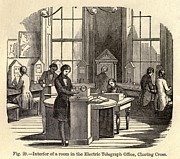 Cooke Prints - Interior Room Of The Electric Telegraph Print by Everett