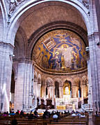 Sacre Coeur Photos - Interior Sacre Coeur Basilica Paris France by Jon Berghoff