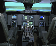 Control Panels Framed Prints - Interior View Of An Aircraft Flight Framed Print by Stocktrek Images