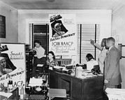 Race Discrimination Prints - Interior View Of Naacp Branch Office Print by Everett