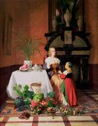 Sat Paintings - Interior with figures and fruit by David Emil Joseph de Noter