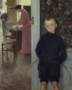 Youth Paintings - Interior with Women and a Child by Paul Mathey