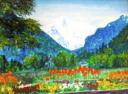 Switzerland Paintings - Interlaken by Beth Saffer