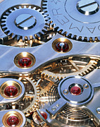 Workings Art - Internal Cogs And Gears Of A 17-jewel Swiss Watch by David Parker