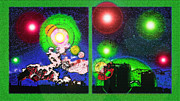 Interplanetary Space Mixed Media - Interplanetary Conceptual Diptych 2 by Steve Ohlsen