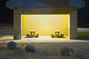 Furnishing Framed Prints - Interstate Rest Area At Night. A Small Framed Print by Alan Majchrowicz