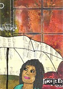 African-american Mixed Media Posters - Into EVERY Life Some Rain Must Fall... SING Anyway Poster by Angela L Walker