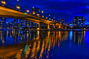 Cambie Bridge Framed Prints - Into the Blue Framed Print by Viktor Lakics
