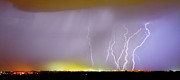 Lightning Bolt Pictures Metal Prints - Into the Colorful Night Metal Print by James Bo Insogna