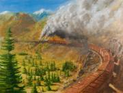 Train Paintings - Into the Front Range by Christopher Jenkins
