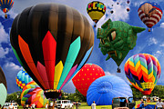 Gondola Ride Prints - Into the Great Blue Sky - Hot Air Balloon Ride - Hot Air Balloons - Warren County Fair Print by Lee Dos Santos