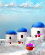 Into The Heavens Santorini Print by Larry Cirigliano