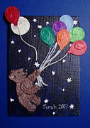 Balloons Mixed Media Originals - Into the Night by Sarah Swift